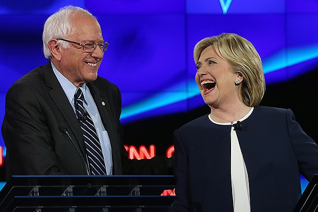 LAS VEGAS, NV - OCTOBER 13: Democratic presidential candidates U.S. Sen. Bernie Sanders (I-VT) (L) and Hillary Clinton take part in a presidential debate sponsored by CNN and Facebook at Wynn Las Vegas on October 13, 2015 in Las Vegas, Nevada. Five Democratic presidential candidates are participating in the party's first presidential debate. (Photo by Joe Raedle/Getty Images)