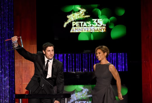 LOS ANGELES, CA - SEPTEMBER 30: Actor Jason Biggs (L) and tv personality Jillian Michaels accept the Animals In Entertainment award onstage at PETA's 35th Anniversary Party at Hollywood Palladium on September 30, 2015 in Los Angeles, California. (Photo by Kevin Winter/Getty Images for PETA)