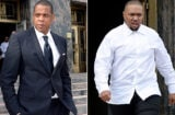 LOS ANGELES CA - OCTOBER 14: Jay Z and Timbaland arrive at United States District Court to testify October 14, 2015 in Los Angeles, California. Jay Z and Timbaland are being accused of violating the copyright to Egyptian composer Baligh Hamdi's 1957 song 'Khosara Khosara' by allegedly misusing the music to create Jay Z's song 'Big Pimpin.' (Photo by Kevork S. Djansezian/Getty Images)