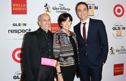 Jeffrey Katzenberg (left) with Marilyn Katzenberg and actor Jim Parsons (Getty Images)