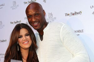 LOS ANGELES, CA - APRIL 04: Khloe Kardashian Odom (L) and Lamar Odom pose for photographers during the 'Unbreakable' Fragrance Launch at The Redbury, Los Angeles on April 4, 2011 in Los Angeles, California. (Photo by Frederick M. Brown/Getty Images)