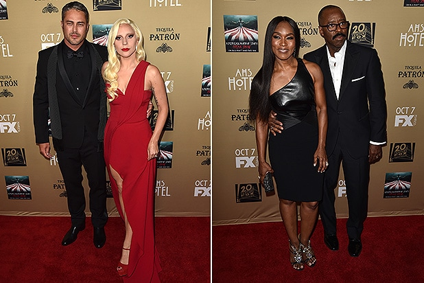 LOS ANGELES, CA - OCTOBER 03: Lady Gaga, Taylor Kinney, Angela Bassett and Courtney B. Vance arrives at the Premiere Screening Of FX's 'American Horror Story: Hotel' at Regal Cinemas L.A. Live on October 3, 2015 in Los Angeles, California. (Getty Images)