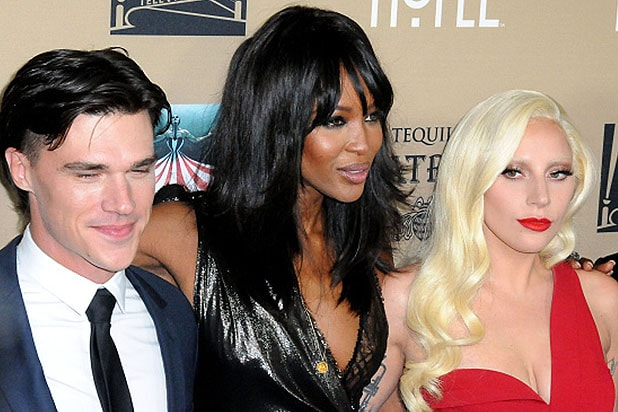 LOS ANGELES, CA - OCTOBER 03: (L-R) Actor Finn Wittrock, model Naomi Campbell, Recording Artist/actress Lady Gaga arrive at the premiere screening Of FX's 'American Horror Story: Hotel' at Regal Cinemas L.A. Live on October 3, 2015 in Los Angeles, California. (Photo by Barry King/Getty Images)