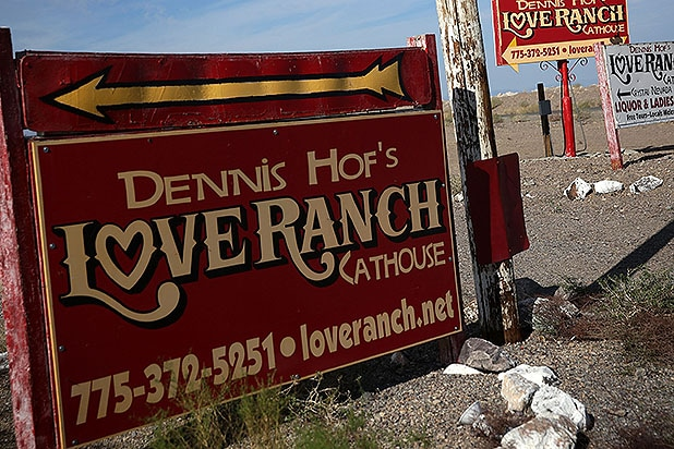 CRYSTAL, NV - OCTOBER 14: Signs for the Dennis Hof's Love Ranch South is seen October 14, 2015 in Crystal, Nevada. Former NBA player Lamar Odom was found unconscious during a visit at the brothel and has been hospitalized at Sunrise Hospital and Medical Center in Las Vegas. (Photo by Alex Wong/Getty Images)