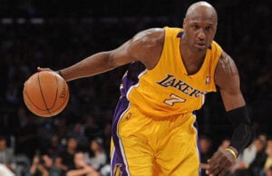LOS ANGELES, CA - APRIL 12: Lamar Odom #7 of the Los Angeles Lakers drives against the San Antonio Spurs during the game at Staples Center on April 12, 2011 in Los Angeles, California. NOTE TO USER: User expressly acknowledges and agrees that, by downloading and or using this photograph, User is consenting to the terms and conditions of the Getty Images License Agreement. (Photo by Harry How/Getty Images)