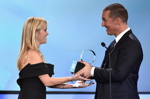 LOS ANGELES, CA - OCTOBER 30: Honoree Reese Witherspoon (L) accepts the American Cinematheque Award from actor Matthew McConaughey onstage during the 29th American Cinematheque Award honoring Reese Witherspoon at the Hyatt Regency Century Plaza on October 30, 2015 in Los Angeles, California. (Photo by Kevin Winter/Getty Images)