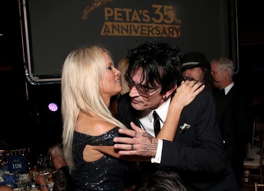 LOS ANGELES, CA - SEPTEMBER 30: Actress Pamela Anderson (L) and musician Tommy Lee attend PETA's 35th Anniversary Party at Hollywood Palladium on September 30, 2015 in Los Angeles, California. (Photo by Todd Williamson/Getty Images for PETA)