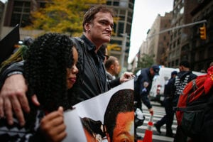NEW YORK, NY - OCTOBER 24: Director Quentin Tarantino attends a protest to denounce police brutality in Manhattan October 24, 2015 in New York City. The rally is part of a three-day demonstration against officer-involved abuse and killing. (Photo by Kena Betancur/Getty Images)