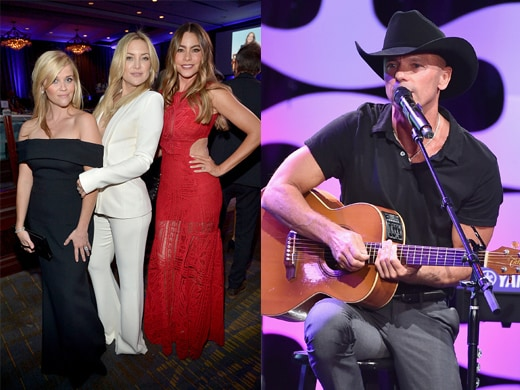 "Kate Hudson's friendship with Reese goes back to a shared car service to a screening in 1991. Witherspoon's fellow Tennessean Kenny Chesney performed ""Wild Child"" to kick off the night. (Getty Images)"