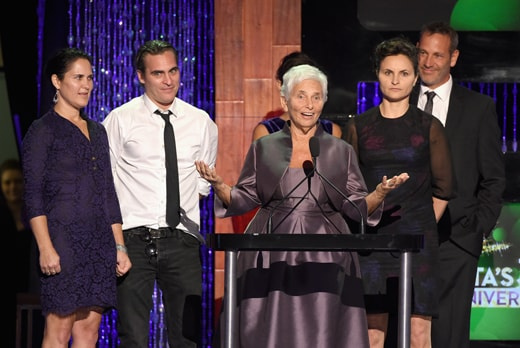 LOS ANGELES, CA - SEPTEMBER 30: (L-R) Actors Liberty Phoenix, Joaquin Phoenix, Arlyn Phoenix, Summer Phoenix, Rain Phoenix and Jeffrey Weisberg speak onstage at PETA's 35th Anniversary Party at Hollywood Palladium on September 30, 2015 in Los Angeles, California. (Photo by Kevin Winter/Getty Images for PETA)