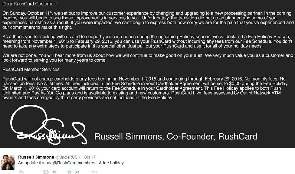 Russell Simmons Rush Card Statement Oct