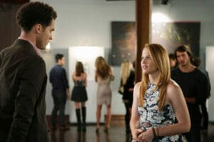 "SWITCHED AT BIRTH - ""And Always Searching for Beauty"" - Bay has her first art showing while Daphne applies for an international internship in the fourth season finale of ""Switched at Birth,"" airing Monday, October 26, 2015 at 8:00 p.m. ET/PT on ABC Family. ABC Family is becoming Freeform in January 2016. (ABC Family/Nicole Wilder) DAN J. JOHNSON, KATIE LECLERC"