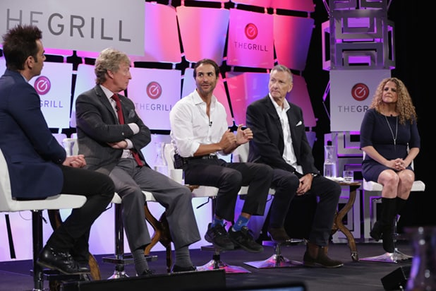 "BEVERLY HILLS, CA - OCTOBER 06: (L-R) Joseph Kapsch, Executive Editor at TheWrap, Nigel Lythgoe, Executive Producer ""American Idol"", Ben Silverman, Founder & Chairman of Electus, David Lyle, President PactUS and executive producer of ""Big Brother"" Allison Grodner speak onstage during TheWrap's 6th Annual TheGrill at Montage Beverly Hills on October 6, 2015 in Beverly Hills, California. (Photo by Alison Buck/Getty Images for TheWrap)"