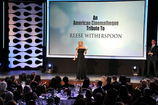 LOS ANGELES, CA - OCTOBER 30: Honoree Reese Witherspoon accepts the American Cinematheque Award onstage during the 29th American Cinematheque Award honoring Reese Witherspoon at the Hyatt Regency Century Plaza on October 30, 2015 in Los Angeles, California. (Photo by Lester Cohen/WireImage)