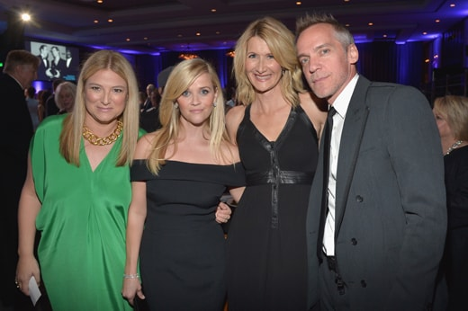 LOS ANGELES, CA - OCTOBER 30: (L-R) Producer Bruna Papandrea, honoree Reese Witherspoon, actress Laura Dern, and director Jean-Marc Vallee attend with FIJI Water at 29th American Cinematheque Awards honoring Reese Witherspoon on October 30, 2015 in Los Angeles, California. (Photo by Charley Gallay/Getty Images for FIJI Water)