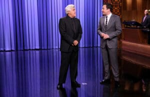 THE TONIGHT SHOW STARRING JIMMY FALLON -- Episode 0344 -- Pictured: (l-r) Comedian Jay Leno and host Jimmy Fallon during the monologue on October 6, 2015 -- (Photo by: Douglas Gorenstein/NBC)