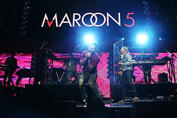 NEW YORK, NY - DECEMBER 12: Maroon 5 performs onstage during iHeartRadio Jingle Ball 2014, hosted by Z100 New York and presented by Goldfish Puffs at Madison Square Garden on December 12, 2014 in New York City. (Photo by Kevin Kane/Getty Images for iHeartMedia)