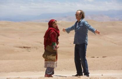 RTK-02049	(Left to right) Leem Lubany as Salima and Bill Murray as Richie Lanz in ROCK THE KASBAH to be released by Open Road Films.