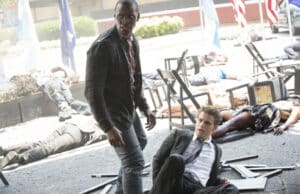 """The Vampire Diaries -- """"Day One of Twenty-Two Thousand, Give or Take"""" -- Image Number: VD701b_0218.jpg -- Pictured (L-R): Jaiden Kaine as Beau and Paul Wesley as Stefan -- Photo: Bob Mahoney/The CW -- © 2015 The CW Network, LLC. All rights reserved."""