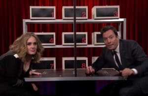 'Adele and Jimmy Fallon' from the web at 'http://www.thewrap.com/wp-content/uploads/2015/11/Adele-Jimmy-Fallon-300x194.jpg'