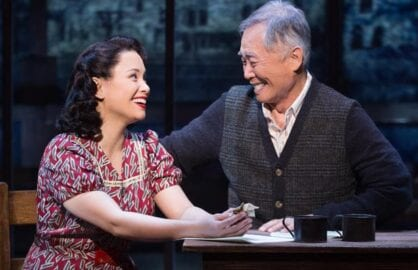 "Lea Salonga and George Takei in ""Allegiance"" (Photo: Matthew Murphy)"
