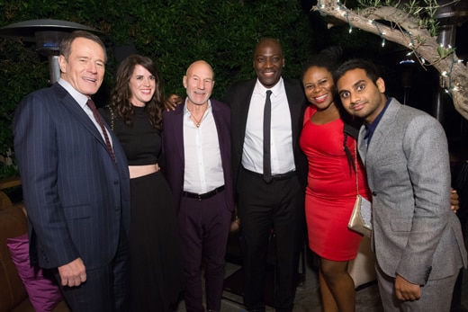 "Bryan Cranston, Sir Patrick Stewart, Mr. Ecko-cum-""Trumbo"" star Adewale Akinnuoye-Agbaje, and Aziz Ansari at the Fiji water hosted party. (HFPA)"