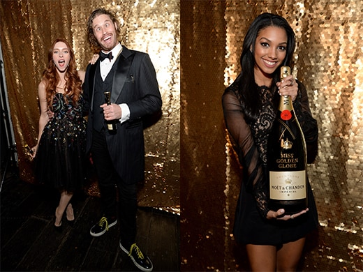 Critics Choice Award winner T. J. Miller with Kate Gorney. Miss Golden Globe is not required to pour the giant bottles at the Beverly Hilton like the servers at Hakkasan or Omnia in Vegas.