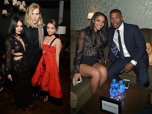 Vanessa Hudgens, Austin Butler, and Sarah Hyland. Miss Golden Globe 2016 Corinne Foxx and father Jamie Foxx.