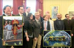 "Tyler Oakley, center, is amongst the 22 social media stars cast on CBS' next ""The Amazing Race,"" debuting in February 2016. (White House Photo, CBS(2))"