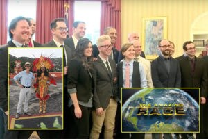 "Tyler Oakley, center, is amongst the 22 social media stars cast on CBS' next ""The Amazing Race,"" debuting in February 2016. (White House Photo, CBS(2))"