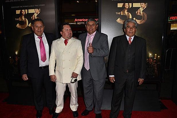 Chilean miners Luis Urzua, Edison 'Elvis' Pena, Juan Carlos Aguilar and Mario Gomez/ Getty Images