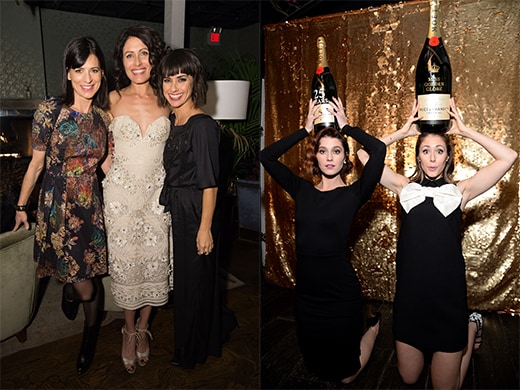Perry Reeves, Lisa Edelstein, and Constance Zimmer huddle up. At right, Mary Elizabeth Winstead and Amanda Crew wear a crown of Moet. Celebrating 25 years of their partnership with the Globes, the bubbly is planning additional events between now and the January 10 show. (Photos by Jason Merritt, Michael Kovac)