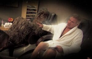 'Harrison Ford Chewbacca' from the web at 'http://www.thewrap.com/wp-content/uploads/2015/11/Harrison-Ford-Chewbacca-300x194.jpg'