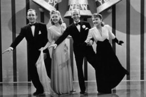 "Bing Crosby Fred Astaire Virginia Dale Marjorie Reynolds in 1941 movie classic ""Holiday Inn"""