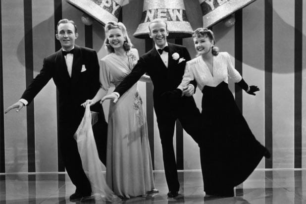 "Bing Crosby Fred Astaire Virginia Dale Marjorie Reynolds in 1941 movie classic ""Holiday Inn"""