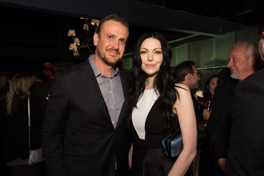 Jason Segel and Laura Prepon would be the first picks for the HFPA/InStyle intramural basketball game - they were amongst the tallest in the room.
