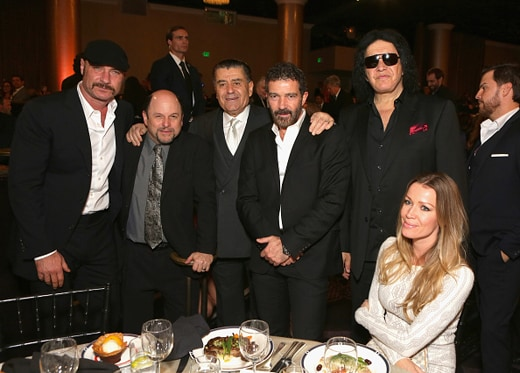 BEVERLY HILLS, CA - NOVEMBER 05: (L-R) Actors Liev Schreiber, Jason Alexander, Gala Co-Chair Haim Saban, actor Antonio Banderas, musician Gene Simmons and Nicole Kimpel attend Friends Of The Israel Defense Forces Western Region Gala at The Beverly Hilton Hotel on November 5, 2015 in Beverly Hills, California. (Photo by Tiffany Rose/WireImage)