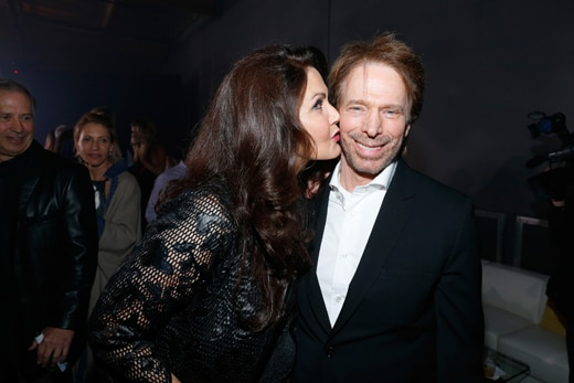 LOS ANGELES, CA - NOVEMBER 05: Actress Lynda Carter (L) and producer Jerry Bruckheimer attend the Fallout 4 video game launch event in downtown Los Angeles on November 5, 2015 in Los Angeles, California. (Photo by Rich Polk/Getty Images for Bethesda)