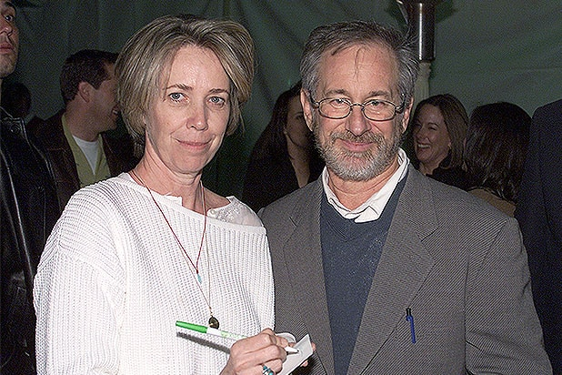 Screenwriter Melissa Mathison and Steven Spielberg at the 20th anniversary premiere of 'E.T. The Extra-Terrestrial' at the Shrine Auditorium in Los Angeles, Ca. Saturday, March 16, 2002. Photo by Kevin Winter/Getty Images