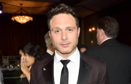 CENTURY CITY, CA - FEBRUARY 14: Writer Nic Pizzolatto poses with the Best Drama Series and New Series awards for 'True Detective' at the 2015 Writers Guild Awards L.A. Ceremony at the Hyatt Regency Century Plaza on February 14, 2015 in Century City, California.  (Photo by Alberto E. Rodriguez/Getty Images for WGAw)