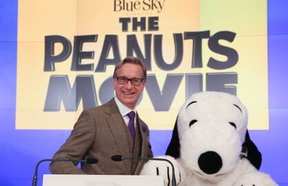 "NEW YORK, NY - NOVEMBER 03:  Paul Feig and Snoopy from ""The Peanuts Movie"" ring the NASDAQ Closing Bell at NASDAQ MarketSite on November 3, 2015 in New York City.  (Photo by Rob Kim/Getty Images)"