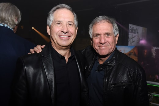 LOS ANGELES, CA - NOVEMBER 05: Chairman/CEO of ZeniMax Media Robert A. Altman (L) and CBS President/CEO Leslie Moonves attend the Fallout 4 video game launch event in downtown Los Angeles on November 5, 2015 in Los Angeles, California. (Photo by Vivien Killilea/Getty Images for Bethesda)