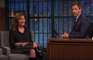 'Sarah Palin and Seth Meyers' from the web at 'http://www.thewrap.com/wp-content/uploads/2015/11/Sarah-Palin-Seth-Meyers-300x194.jpg'