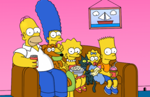 The Simpsons characters on their couch