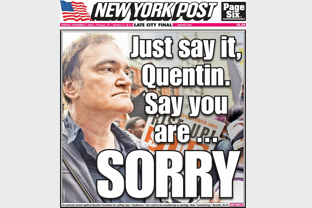 Quentin Tarrantino NY Post front page