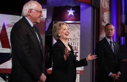 DES MOINES, IA - NOVEMBER 14:  Democratic presidential candidates (L-R) Sen. Bernie Sanders (I-VT), Hillary Clinton and Martin O'Malley stand on the stage prior to a presidential debate sponsored by CBS at Drake University on November 14, 2015 in Des Moines, Iowa. The candidates participated in the party's second presidential debate.  (Photo by Alex Wong/Getty Images)