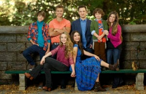 "GIRL MEETS WORLD - Disney Channel's ""Girl Meets World"" stars Corey Fogelmanis as Farkle Minkus, Peyton Meyer as Lucas Friar, Sabrina Carpenter as Maya Hart, Rowan Blanchard as Riley Matthews, Ben Savage as Cory Matthews, August Maturo as Auggie Matthews and Danielle Fishel as Topanga Matthews. (Disney Channel/Edward Herrera)"