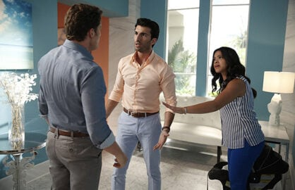 "Jane The Virgin -- ""Chapter Twenty-Seven"" -- Image Number: JAV205b_0321.jpg -- Pictured (L-R): Brett Dier as Michael, Justin Baldoni as Rafael and Gina Rodriguez as Jane -- Photo: Greg Gayne/The CW -- © 2015 The CW Network, LLC. All rights reserved."