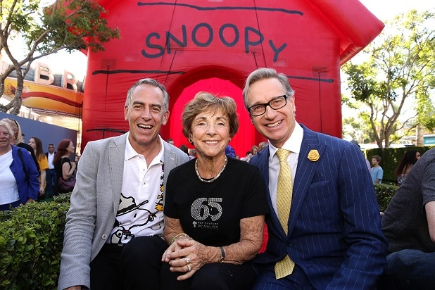 "Director Steve Martino, Jean Schulz and producer Paul Feig at Nov. 1 premiere of ""The Peanuts Movie"" (Photo by Eric Charbonneau/Invision for Twentieth Century Fox/AP Images)"