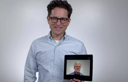 George Lucas, in the palm of J.J. Abrams' hand.